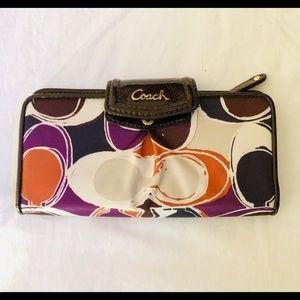 EUC Coach Ashley Multi Color Scarf Print Wallet